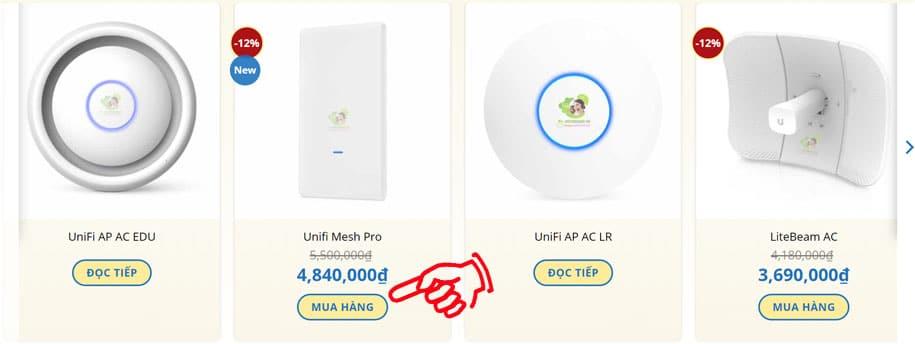 Click chọn Sản phẩm đặt hàng
