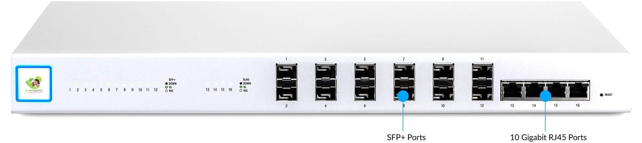 UniFi Switch 16 XG voi cac Port 10 Gigabit cao cap