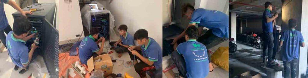 Đội ngủ nhân viên Phú Yên Xanh thực hiện lắp đặt Wifi khách sạn cho Hotel